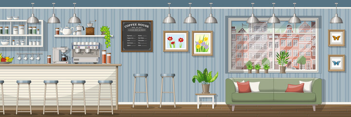 Illustration of a classic coffee shop, panorama