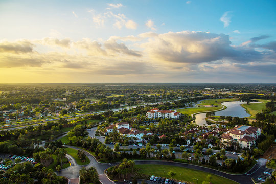 Gorgeous sunset aerial panoramic view of the Orlando, Florida