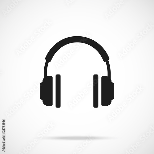"vector headphones icon. black symbol silhouette"" stock image and"
