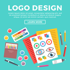 Logo design web banner. Paper sheets with logotypes sketches, pen and pencils, brush and paints and other drawing supplies. Creative process of logo creation concept. Modern vector flat illustration
