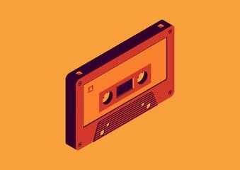 cassette tape isometric design