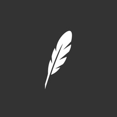 Feather logo. Vector icon on black background