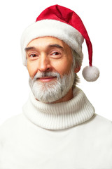 Portrait of aged kind barbate man with a Santa's hat