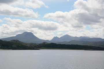 View from Gairloch of Church Beach and Mountains