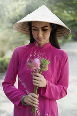 Portrait of Vietnam girls with Ao Dai