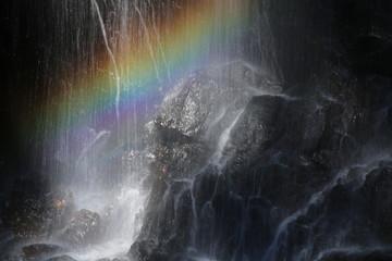 滝にかかる虹