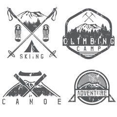 skiing , canoe and adventure camp vintage grunge labels set