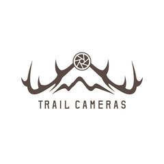 deer horns and trail camera vector design template