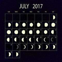 Moon phases calendar for 2017. July. Vector illustration.