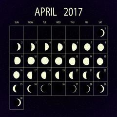 Vektor: Moon phases calendar for 2017. April. Vector illustration.