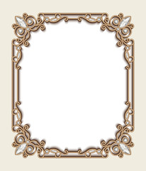 Rectangle gold jewelry frame with diamonds