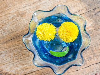Smiley face with Marigold flower