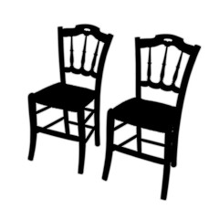 Typical italian wooden straw chairs with turned parts - black and white concept