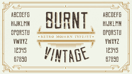 Vintage Retro Font with Sample Text. Handcrafted Decoration Font