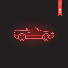 Neon Car Icon, Car Icon Vector, Car Icon Object, Car Icon Image,
