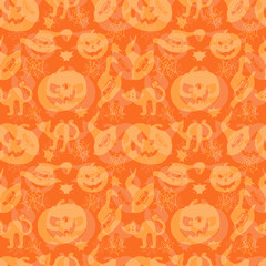 Art seamless pattern for Happy Halloween background. Design temp
