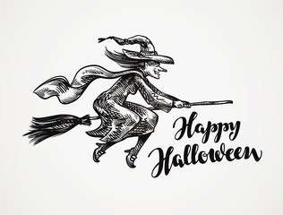 Halloween. Old wicked witch flying on broomstick sketch. Vector illustration