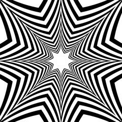 Black and White Striped Stars Expanding from the Center. Optical Effect of Depth and Volume.Polygonal Geometric Abstract Background.  Vector Illustration.