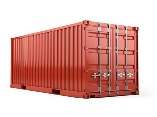 Red cargo freight shipping container against a white background. 3d render