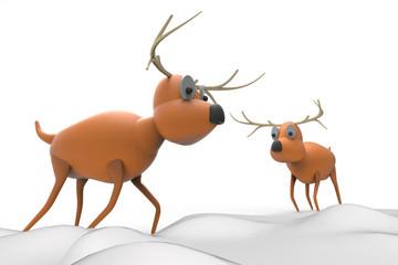 Reindeer Christmas isolated and snowseasonal onBackground