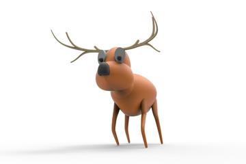 Reindeer Christmas Cartoon isolated on Background