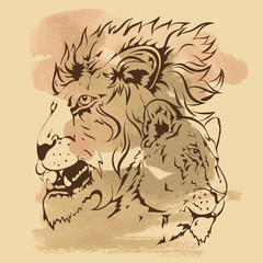 Hand- drawing sketch of lions