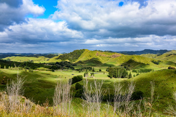 panoramic view from forgotten world highway, new zealand