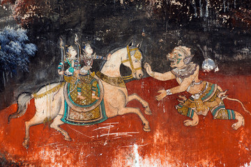 Ancient mural painting in Royal palace in Phnom Penh, Cambodia