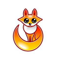 Cute cartoon fox isolated vector