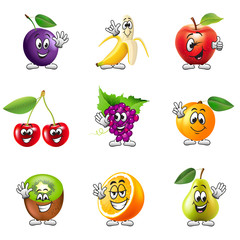 Funny cartoon fruits icons vector set