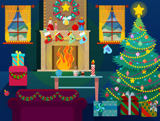 Merry Christmas Home Interior with Christmas Tree, Fireplace and Gifts. Vector Background