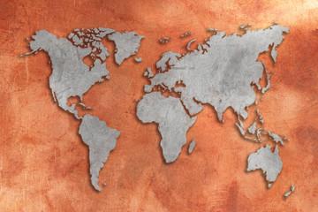 Grunge copper tinned 3D World map