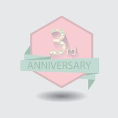 3rd aniversary celebration design badge