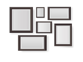 Big set of picture frames isolated on white background.