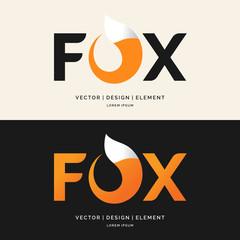 The inscription Fox, modern logo and emblem.