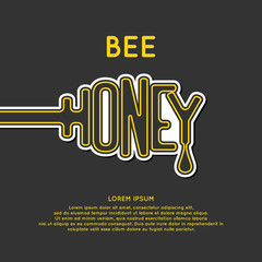 Logo bee honey. Stylish and modern  for  products.