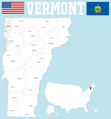A large and detailed map of the State of Vermont with all counties and county seats