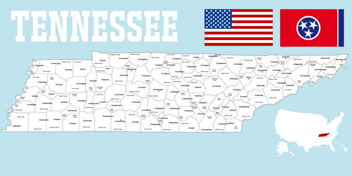 A large and detailed map of the State of Tennessee with all counties and county seats