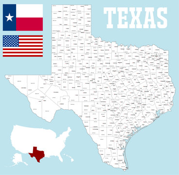 A large and detailed map of the State of Texas with all counties and county seats