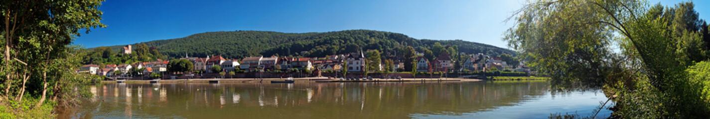 Flussufer am Neckar bei Neckarsteinach, Hessen