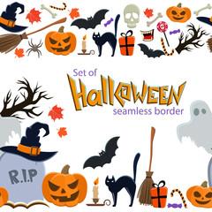 Seamless horizontal borders of Halloween icons