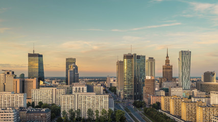 Warsaw Downtown, late afternoon light, Poland
