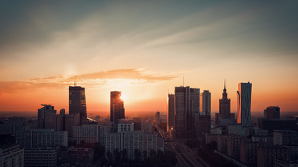 Warsaw Downtown sunrise skyline, Poland