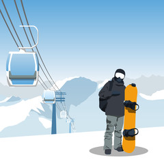 snowboard and ski resort theme illustration.
