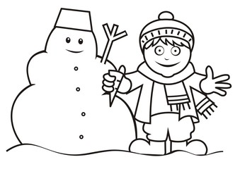 boy and snowman, coloring book
