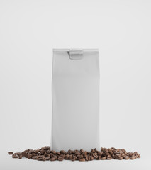 White pack of coffee against white background