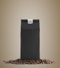 Black pack of coffee against beige background