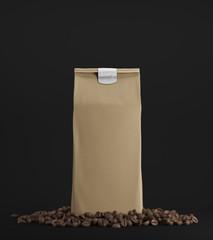 Beige pack of coffee against black background