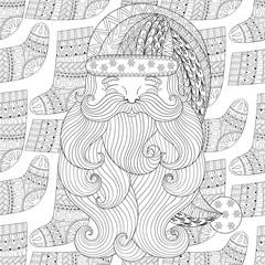 Santa on winter knitted socks seamless pattern in zentangle styl