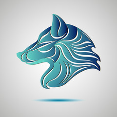 Wolf head profile logo. Stock vector
